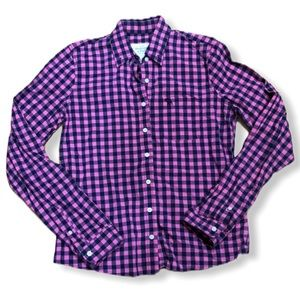 Abercrombie & Fitch Pink and Blue Plaid Shirt Sz S